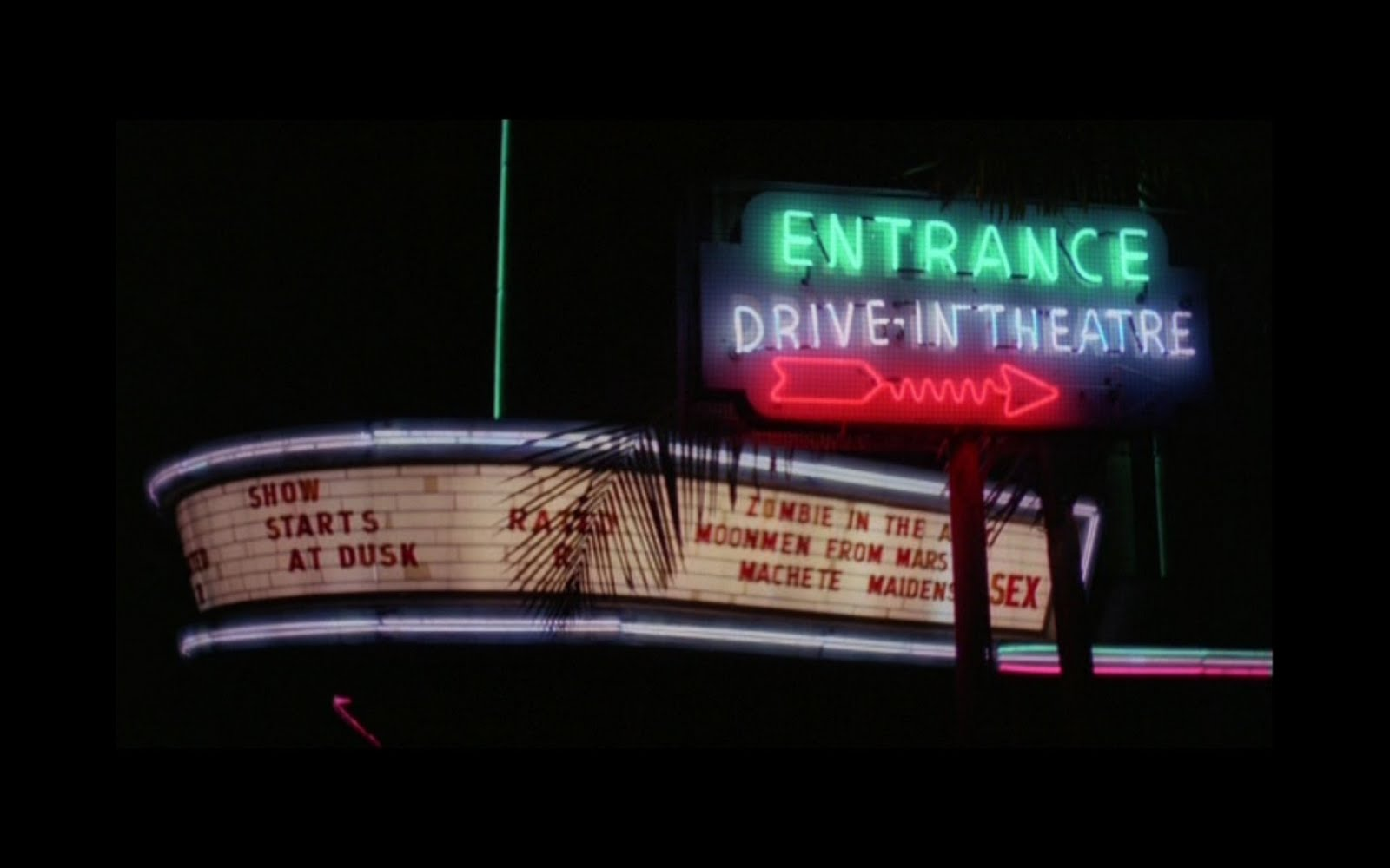Drive-in marquee new movie trailers