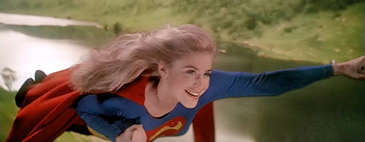 "Helen Slater takes flight as Supergirl in 1984's ""Supergirl,"" a Tri-Star Pictures release."