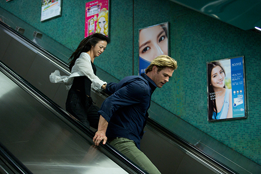 "Lien Chen (Wei Tang) and Nicholas Hathaway flee after a violent attack from nefarious hackers in Universal Pictures' techno-thriller ""Blackhat,"" directed by Michael Mann."