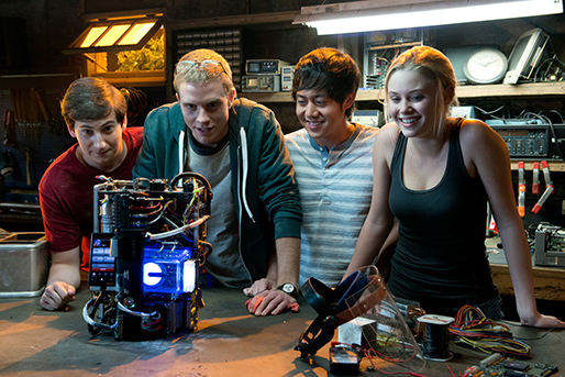 "From left, Sam Lerner, Jonny Weston, Allen Evangelista and Amy Landecker star in ""Project Almanac,"" a 2015 Paramount Pictures release produced by Michael Bay."