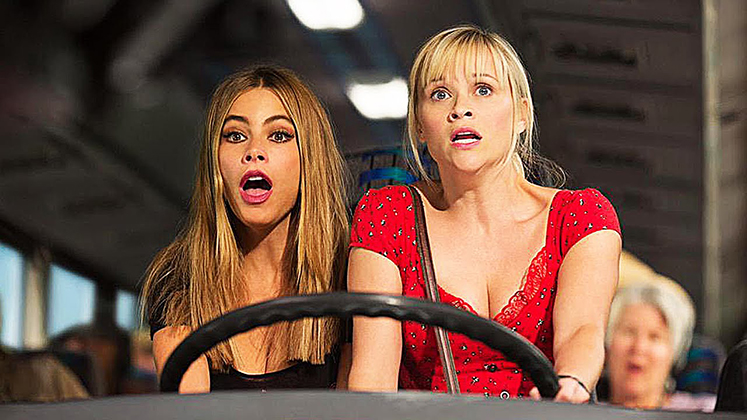 "Sofia Vergara and Reese Witherspoon star in ""Hot Pursuit,"" a 2015 buddy action-comedy directed by Anne Fletcher and distributed by Warner Brothers."