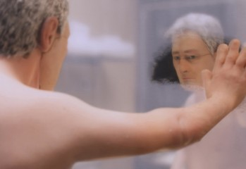 "Michael Stone (voice of David Thewlis) takes a long, hard look at himself in ""Anomalisa,"" a 2015 Paramount Pictures stop-motion animation film co-directed by Charlie Kaufman and Duke Johnson."