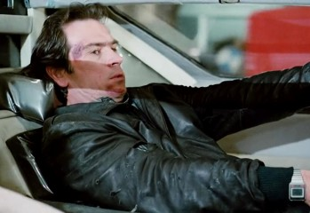 """Quint (Tommy Lee Jones) puts the pedal to the metal of the titular car in """"Black Moon Rising,"""" a 1986 action-thriller from New World Pictures."""