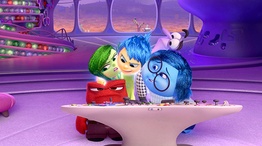 "Anger (Lewis Black), Disgust (Mindy Kaling), Joy (Amy Poehler), Fear (Bill Hader) and Sadness (Phyllis Smith) are the emotions driving the mind of a young girl named Riley in ""Inside Out,"" a 2015 Pixar film."