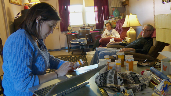 "Nurse practitioner Jessica Macleod reviews the prescriptions of Wink and Patty Sherrill in ""The Invisible Patients,"" a 2016 documentary directed by Patrick O'Connor."
