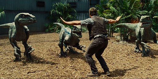 "Chris Pratt stars as a velociraptor trainer in ""Jurassic World,"" a 2015 Universal Pictures release."