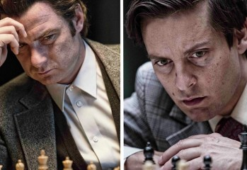 PAWN SACRIFICE- 2014 FILM STILL - Liev Schreiber and Tobey Maguire -