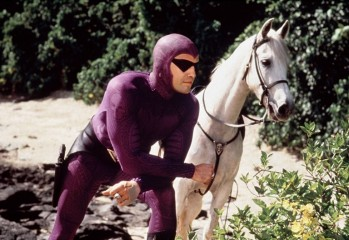 "The Phantom (Billy Zane) and his trusty steed, Hero, battle evil forces in ""The Phantom,"" a 1996 Paramount Pictures action-adventure directed by Simon Wincer."
