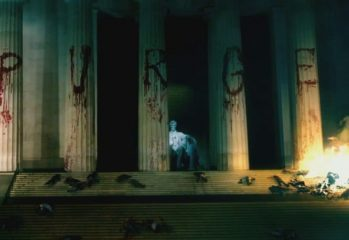 "The Lincoln Memorial gets an unwelcome makeover in ""The Purge: Election Year,"" a 2016 Universal Pictures film written and directed by James DeMonaco."