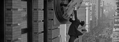 """Harold Lloyd finds himself in a precarious position while trying to make $1,000 in """"Safety Last!,"""" a 1923 silent-film classic being screened with live organ accompaniment on Friday, January 27 in Lafayette, Indiana."""