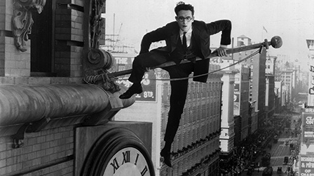 "Harold Lloyd finds himself in a precarious position while trying to make $1,000 in ""Safety Last!,"" a 1923 silent-film classic being screened with live organ accompaniment on Friday, January 27 in Lafayette, Indiana."