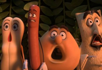 "Brenda (Kristen Wiig), Frank (Seth Rogen), Sammy Bagel Jr. and Vash (David Krumholtz) face a threat in ""Sausage Party,"" a 2016 Sony Pictures release directed by Conrad Vernon and Greg Tiernan."