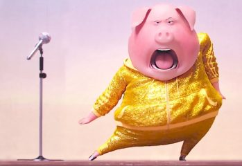 "Flamboyant German pig Gunter (voiced by Nick Kroll) lets loose on Lady Gaga in ""Sing,"" a 2016 Illumination Entertainment release."