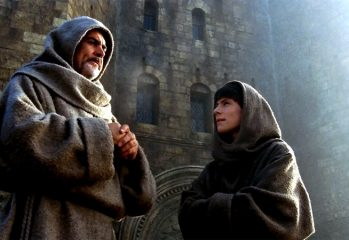 "William of Baskerville (Sean Connery) and Adso of Melk (Christian Slater) contemplate clues to a murder in ""The Name of the Rose,"" a 1986 adaptation of Umberto Eco's novel."