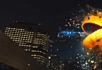 "In the new movie ""Pixels,"" Adam Sandler plays a former video game champ who battles video game characters."